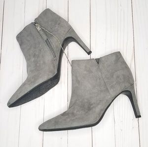 Gray pointed toe heeled suede ankle boots 9.5 NWT